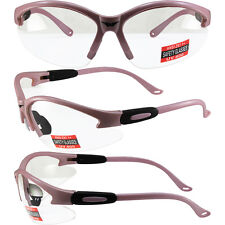 Cougar Light Pink Frame Clear Lens Womens Safety Glasses Motorcycle Z87+