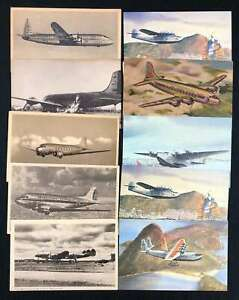 D1468: (80 1940's-70's Airplane Postcards; Look
