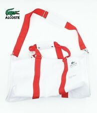 "NEW Lacoste Duffle Weekender Gym 20"" Bag Classic White Shoulder Carry Vintage"