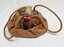 Oval Lucite Fabric Basket Purse w/ Attached Coin Purse, 1940's