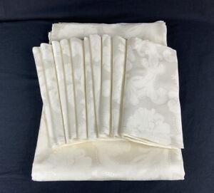 """Anichini White Cotton Jacquard 79""""x144"""" Tablecloth & 10 European Size Napkins"""