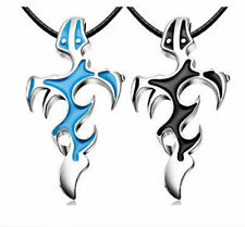 Unisex Men Stainless Steel Flame Pendant Chain Black Leather Necklace Jewelry