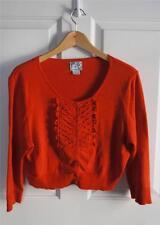 ANTHROPOLOGIE TABITHA sz L bold orange woven detail cropped cardigan EUC