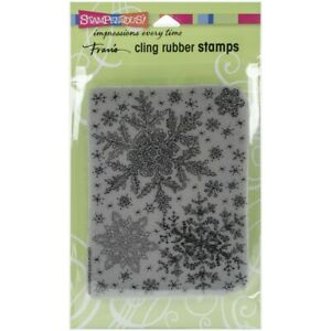 """Stampendous Discontinued Cling """"Snowflake Sky"""" Stamp CRR234"""