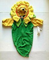 Disney Winnie The Pooh Sunflower Infant Costume Hood Bunting Green Yellow 0-3 M