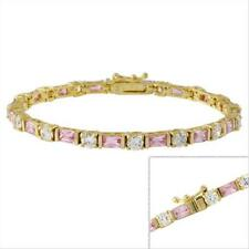 18k Gold over 925 Pink & Clear CZ Bracelet