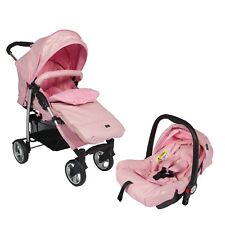 Leatherette Travel System ,From Birth w/Car Seat,Footmuff,Changing Bag Pink