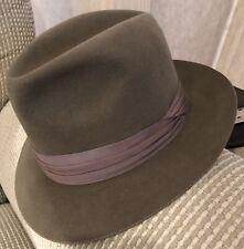 Vintage 40s Dobbs Fedora Hat 7 1/8 Army Grn. Light Weight Summer Felt