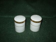 NEW TRADITIONS SALT AND PEPPER  SET GOLD ENCRUSTED