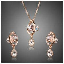 S14 Made Using Swarovski Crystals Rose Gold Floating Gem Necklace Set $188