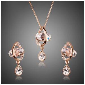 Made Using Swarovski Crystals Rose Gold Floating Gem Necklace Set $188 S11
