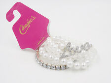 New 4 Piece Stretch Bracelet Set with Rhinestones & Faux Pearls NWT #B1478