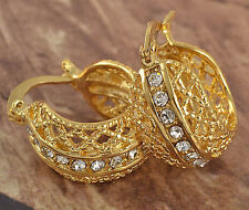 Fashion Woman 9K Real Yellow Gold Filled Crystal Hollow Hoop Earrings Jewelry