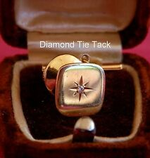 14K YELLOW GOLD SQUARE TIE TACK OR LAPEL PIN WITH TINY DIAMOND IN STAR CENTER