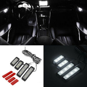 White Car Door Bowl Handle LED Ambient Atmosphere Light Interior Accessories 4x