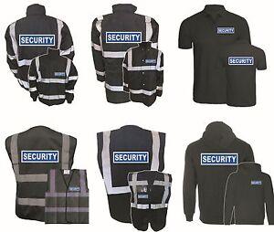 REFLECTIVE SECURITY BLACK WORKWEAR, BOMBER PARKA JACKET,POLO SHIRT, Hi VIS VIZ