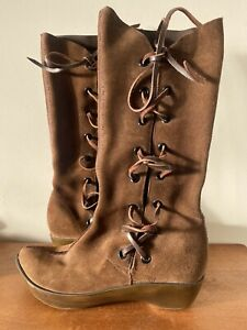 🌱 ROBERT CLERGERIE Sz 6 Brown Suede Leather Drawstring Wedge Boots French