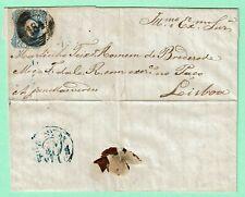 PORTUGAL D.Maria II 25 Reis Blue Cover June 1854 MIRANDELA Cancel 184 > LISBOA