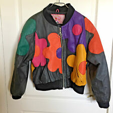 60's AUSTIN POWERS STYLE Ladies Leather Jacket Multi-Color Bright Flowers Med.