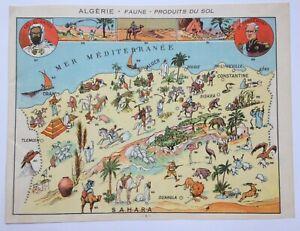 ALGERIA NICE PICTORIAL MAP 1930 XXe CENTURY ORIGINAL (ABD-EL-KADER)