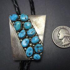Vintage NAVAJO Sterling Silver BLUE KINGMAN TURQUOISE Cluster BOLO Tie