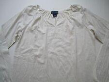 NWT RALPH LAUREN Girl Long Sleeve Crew Neck Knit T-Shirt Cream XL (16)