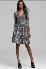 NWT $485 DIANE VON FURSTENBERG AMELIA TWO OPTIC PLAID WRAP DRESS 12