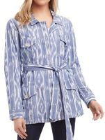 Karen Kane Women's Blue Large L Belted Printed Chambray Cargo Jacket $118 #313