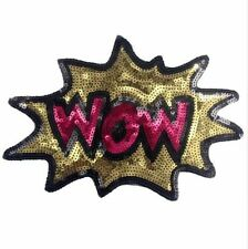 Large WOW Cartoon Comic Iron Sew On Sequin Patch Applique Customise