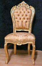 Barock Stuhl, schlagvergoldet, goldfarbener Brokatbezug
