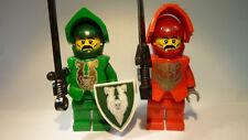 LEGO® Figur: 2x Ritter, Knight, rot, grün, Schwert, Schild Castle