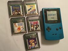 NINTENDO GAME BOY COLOR GBC TURQUOISE CONSOLE +5 GAMES TWEETY SHREK POOH BUGS ++