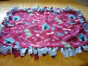 Handmade fleece tie blanket of pet theme for a small pet