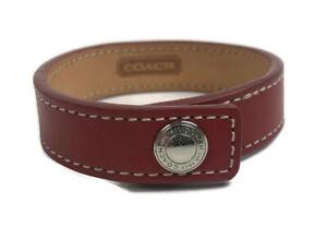 "Coach Red Leather Snap Bracelet 8.25"" Cuff 7186GW"