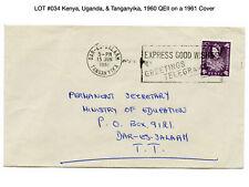 034: Kenya, Uganda, & Tanganyika, 1960 QEII on a 1961 Cover - Giraffe, Lion