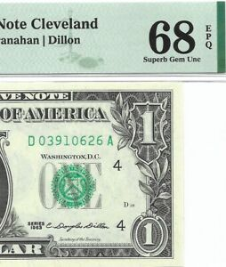 "1963 $1 CLEVELAND "" MULE "" FRN, PMG SUPERB GEM UNCIRCULATED 68 EPQ BANKNOTE"