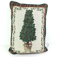 "Riverdale Decorative Products Christmas Tree Holly Tapestry Throw Pillow 16""x12"""