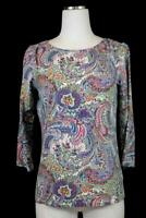 womens colorful floral paisley TALBOTS t-shirt tee shirt top blouse S PETITE PS