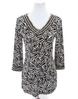 Chico's Travelers Womens Beaded Slinky Tunic Top Brown African Print Sz 0 Small