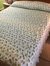 Vintage 1970s bedspread 100 x 92 twin full yellow rosebud summery cotton ruffled