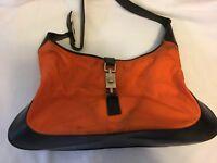 Gucci Large Orange & Black Canvas Shoulder Bag Purse Overnight %DAMAGED%