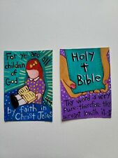 ORIGINAL ACEO Folk Art Bible Scripture Girl Child God Jesus Christ Word Pure