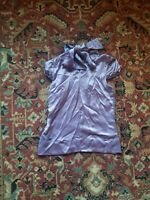 BCBG MaxAzria XS Silky Purple Lavendar Bow Top Blouse Collared