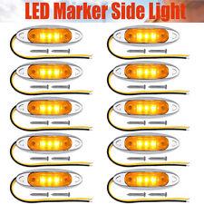 10pcs Waterproof Amber Yellow 3 LED Side Marker Light for Trailer Truck Boat 12V