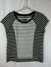 Peter Som Design Nation Sz M Stretch Black & White Striped Cap Sleeve Top