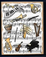 MUSIC INSTRUMENTS LINE BLOCK Background LARGE STAMPENDOUS 1998 RUBBER STAMP