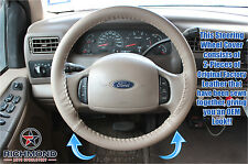 2001 2002 2003 Ford F250 F350 Lariat Quad-Cab -Leather Steering Wheel Cover Tan