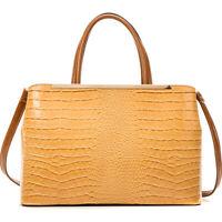 Dasein Women Crocodile Leather Briefcase Satchel Handbag Shoulder Bag Purse