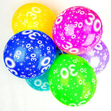 30th Birthday Balloons With Printed Numbers Party Latex Quality - Pack of 10