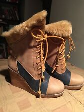 AUSTRALIA LUXE COLLECTIVE MEDITERE WEDGE BOOTS, SIZE 8